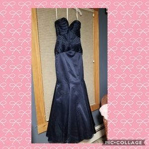 Navy blue mermaid cut formal gown, by ZacPosen